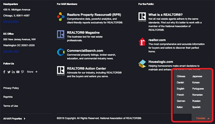 Translate nar.realtor - Desktop