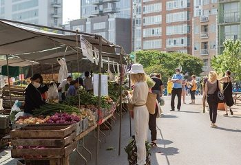 People shopping at a farmers market in NYC