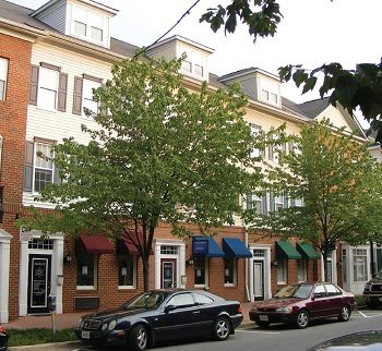 A street with townhouses in Shirlington, Alexandria, VA