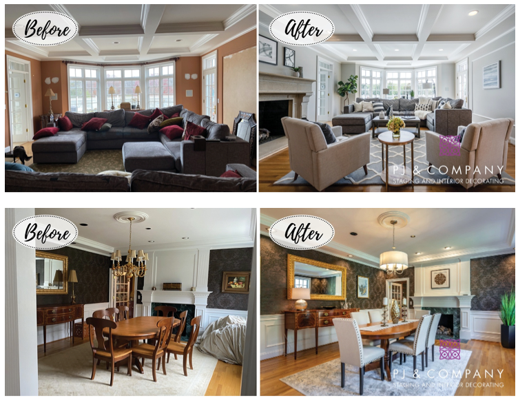 Dining rooms before and after