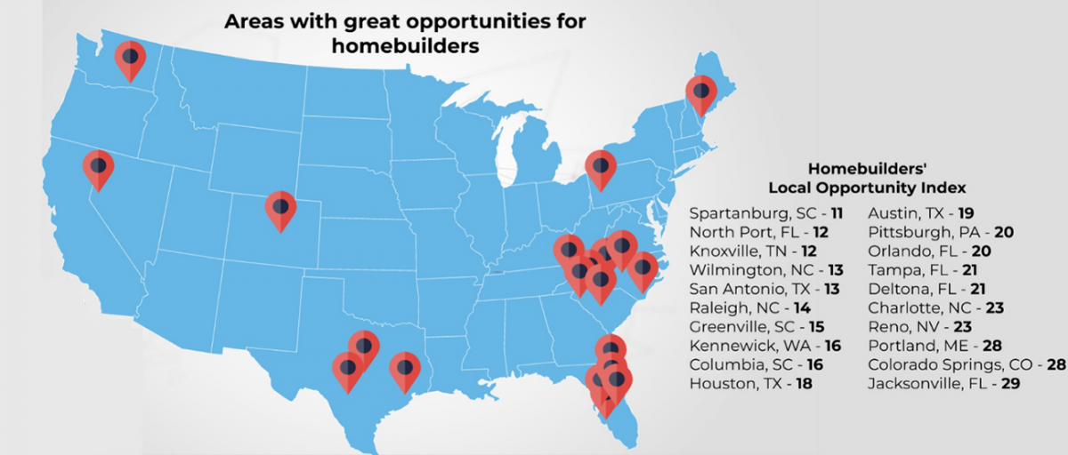 U.S. Map: Areas With Great Opportunities for Homebuilders