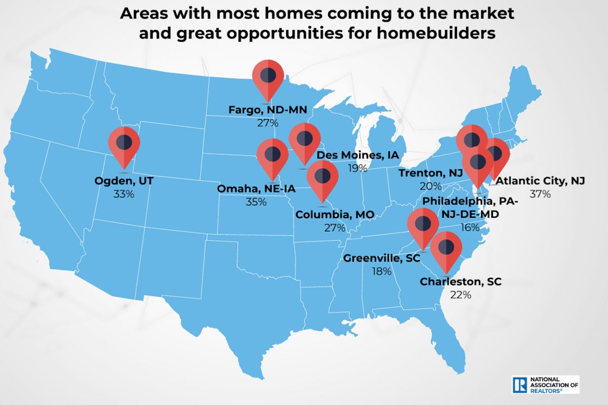 U.S. Map: Areas With Most Homes Coming to the Market and Great Opportunities for Homebuilders