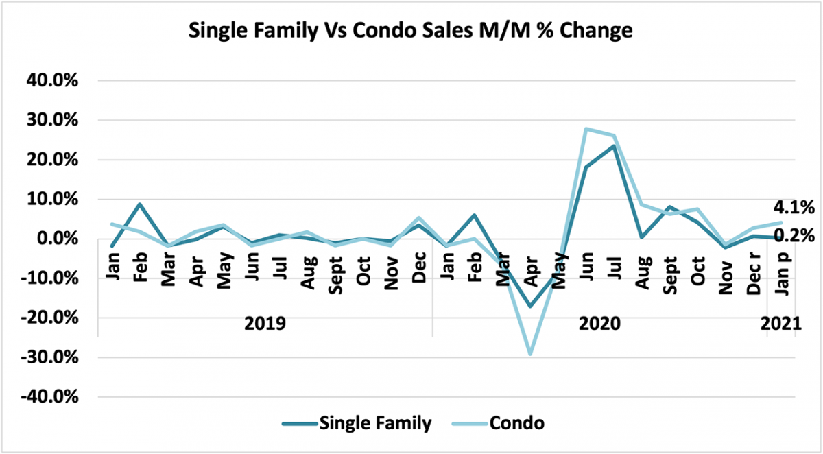 Line graph: Single Family vs Condo Sales Month-Over-Month Percent Change, January 2019 to January 2021