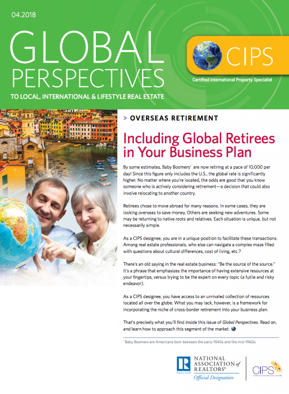 Cover of the April 2018 issue of Global Perspectives: Overseas Retirement