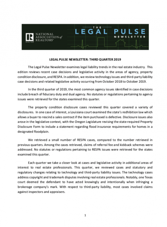 Cover image of the Legal Pulse third quarter newsletter for 2019