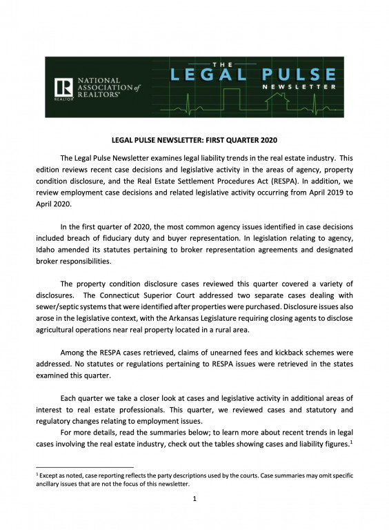 Legal Pulse Newsletter Cover Image 1Q 2020
