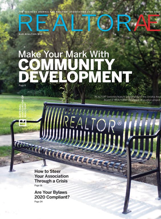 Cover of REALTOR® AE Winter Magazine 2020: Make Your Mark with Community Development