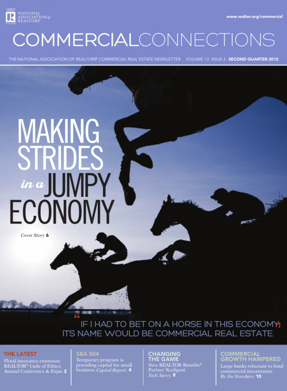 Cover of the 2012 Summer issue of Commercial Connections: Making Strides in a Jumpy Economy