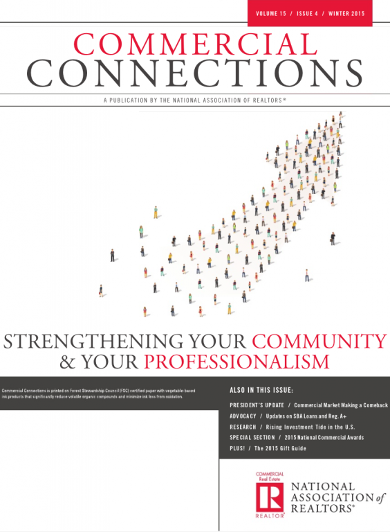Cover of the 2015 Winter issue of Commercial Connections: Strengthening Your Community and Your Professionalism