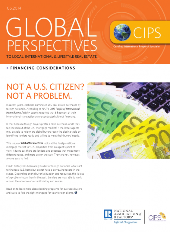 Cover of the June 2014 issue of Global Perspectives: Financing Considerations