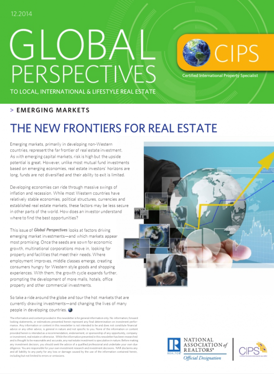 Cover of the December 2014 issue of Global Perspectives: Emerging Markets
