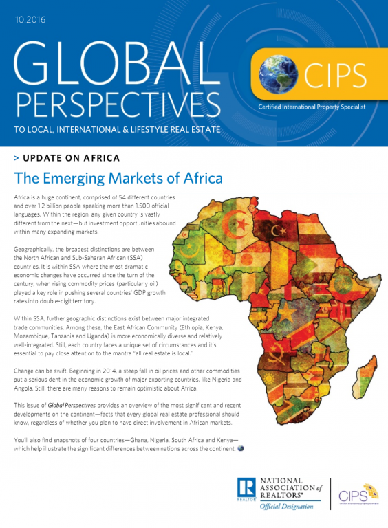 Cover of the October 2016 issue of Global Perspectives: Update on Africa