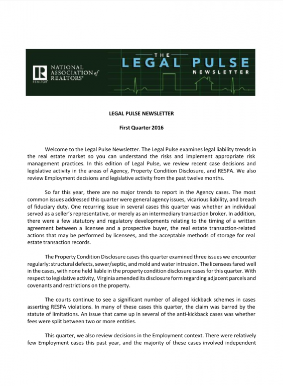 Cover of the 2016 Q1 issue of Legal Pulse: Agency, PCD, RESPA, Employment
