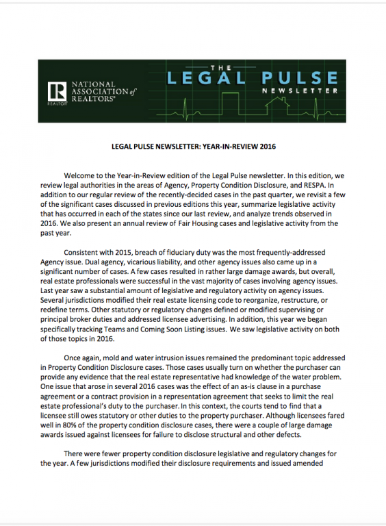 Cover of the 2016 Q4 issue of Legal Pulse: Year in Review