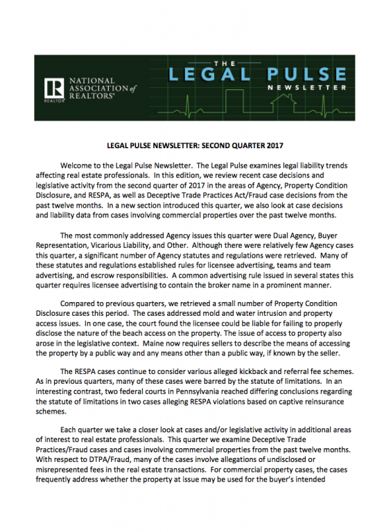 Legal Pulse 2Q 2017 Newsletter Cover