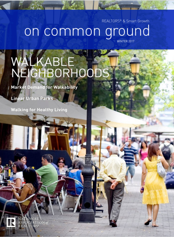 Cover of the 2017 Winter issue of On Common Ground: Walkable Neighborhoods