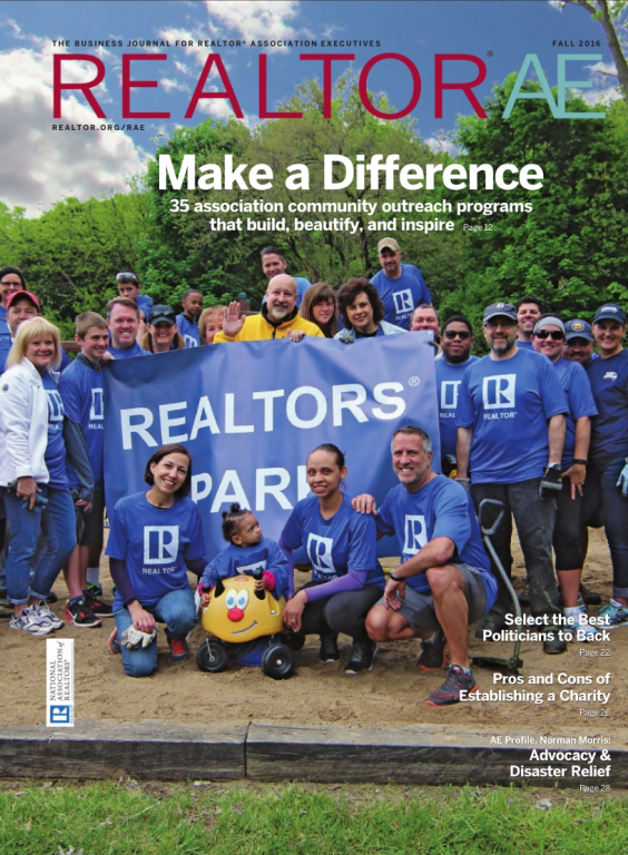 Cover of the 2016 Fall issue of REALTOR® AE Magazine: Make a Difference