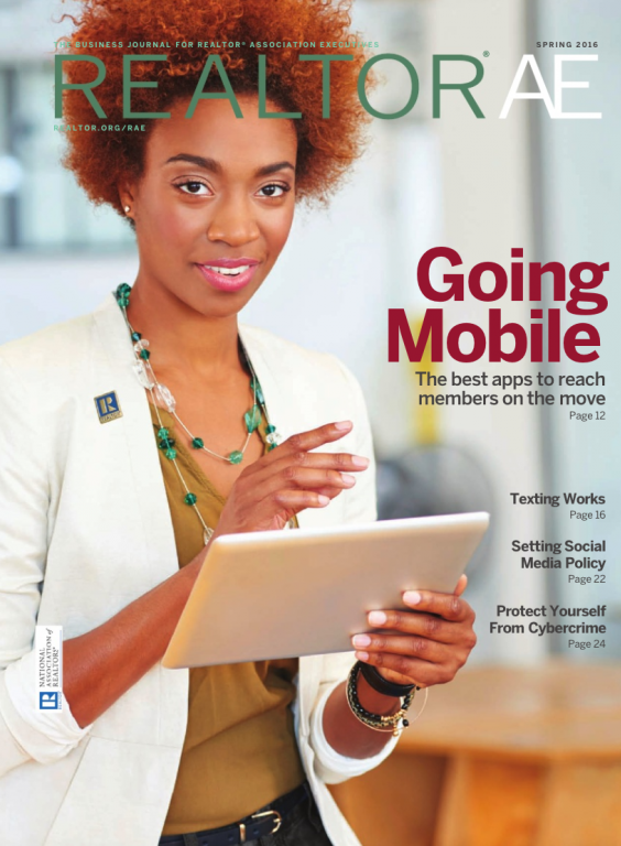 Cover of the 2016 Spring issue of REALTOR® AE Magazine: Going Mobile