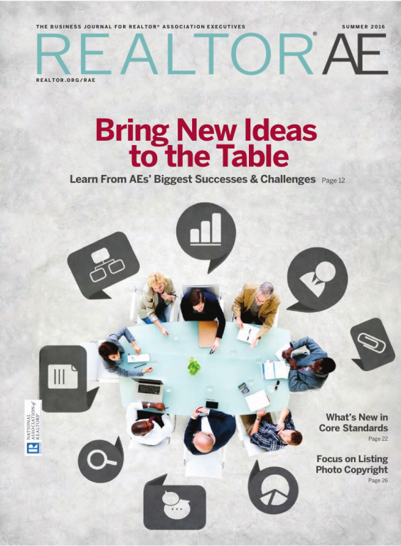 Cover of the 2016 Summer issue of REALTOR® AE Magazine: Bring New Ideas to the Table
