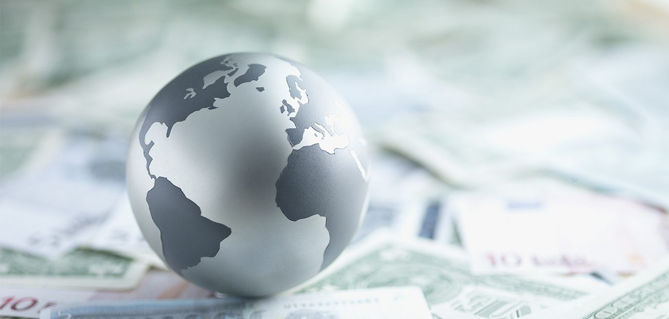 Globe with world currencies