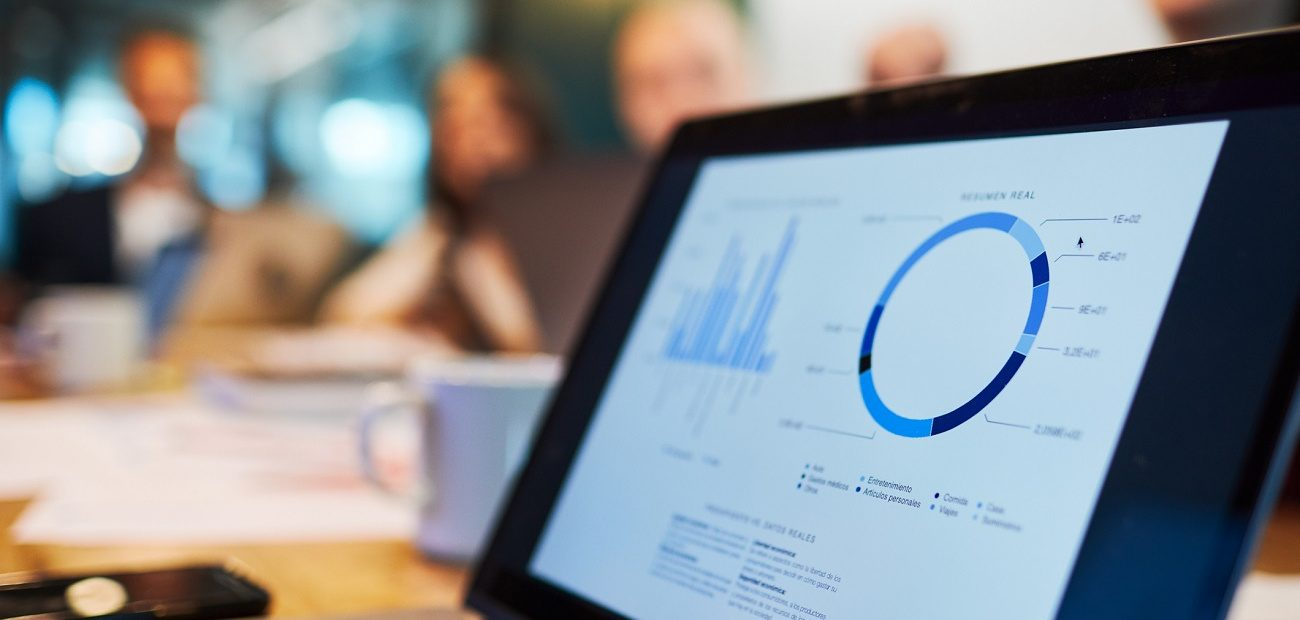 Laptop screen showing a business chart