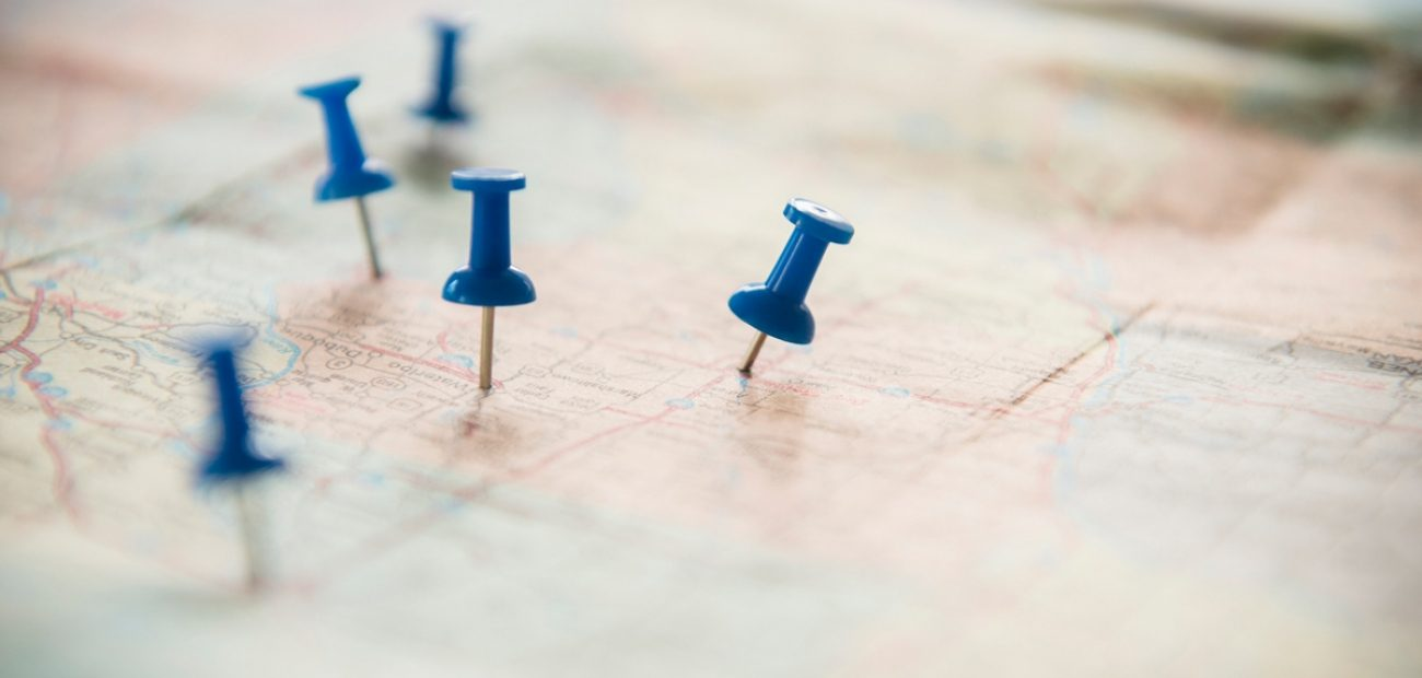 Map With Blue Push Pins
