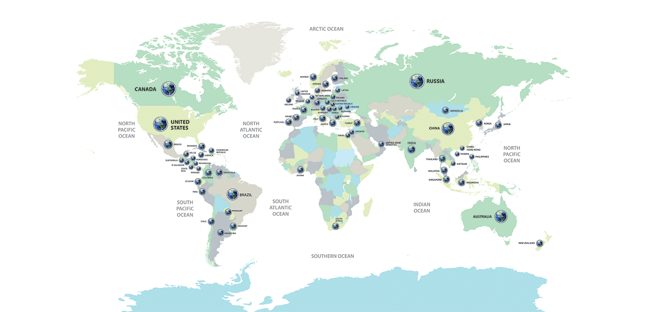 World map: NAR Global Partners