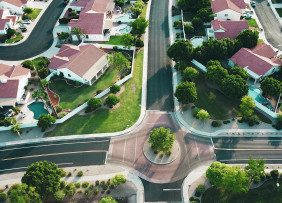 Aerial shot of red-roofed suburban homes