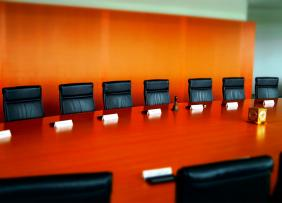 Conference room with an orange wall