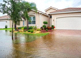 House with flooded front yard