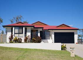 Red-roofed ranch style house
