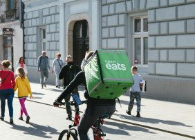 Uber Eats delivery person on a bicycle